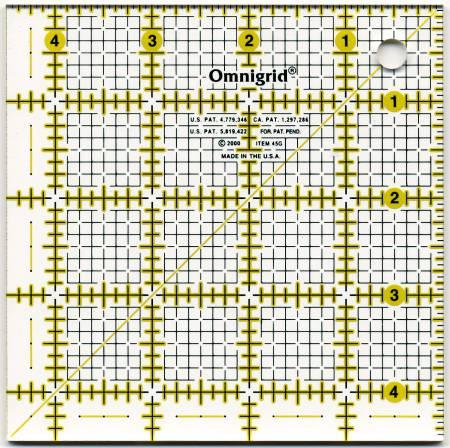 Omnigrid Ruler 4 1/2in Square All-Over Grid - OG45G