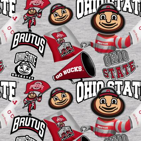 Ohio State Buckeyes Digitally Printed- Gray with Brutus Toss