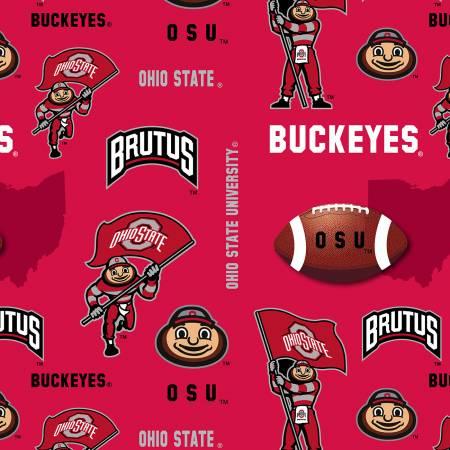 NCAA-Ohio State Tossed logo w/map Minky 60 wide