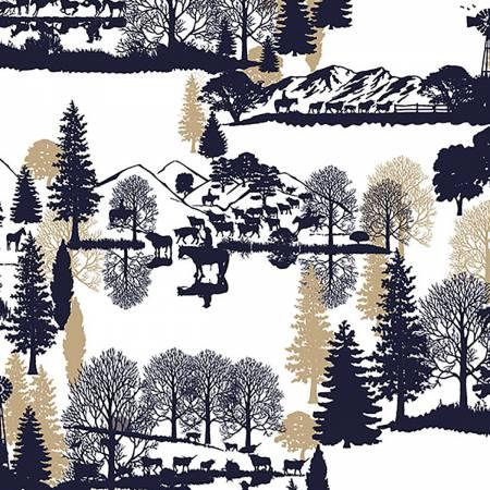 Shannon Fabrics Inc, - Navy Open Range Cuddle