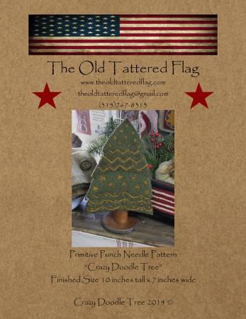 PT PN Old Tattered Flag Crazy Doodle Tree Punch Needle