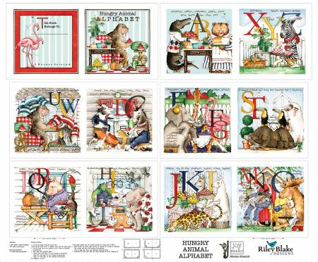 Hungry Animal Alphabet Cloth Book Panel