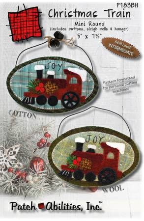 Christmas Train Mini Round W/ Buttons Bells & Hanger