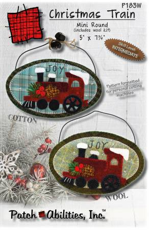 Christmas Train Mini Round With Wool Kit