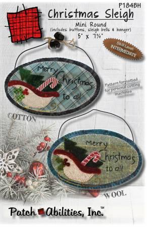 Christmas Sleigh Mini Round W/ Buttons, Bells & Hanger