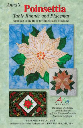 CD Poinsettia Table Runner and Placemat Machine Embroidery
