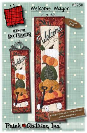 Welcome Wagon Wall Hanging with Hanger by Patch Abilities, Inc.  6x 22 finished size