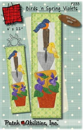 Patch Abilities Birds n Spring Violets P233PA 6x22 Wallhanging