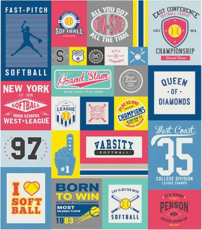 Varsity Softball Panel  by Deena Rutter for Riley  Blake - 56 x 64 Digital