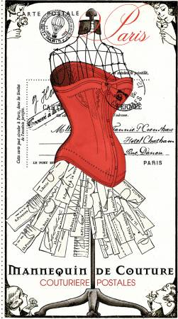 Couture Parisienne Postales Panel 24 x 43.