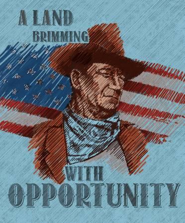 Americana John Wayne Panel Blue