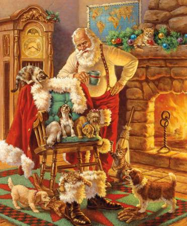 A Christmas Classic - Santa And Friends - 1 Yard Panel