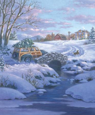 A Christmas Classic - 36in Panel - Woody Wagon
