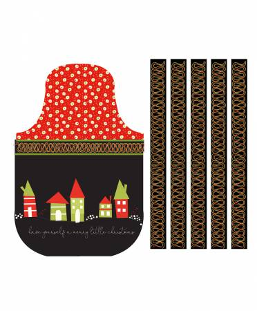 Merry Little Christmas 36 Apron Panel/Black: Merry Little Christmas   (Sandy Gervais)