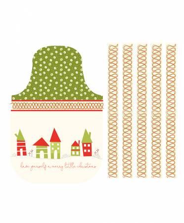 Merry Little Christmas Apron Panel Cream