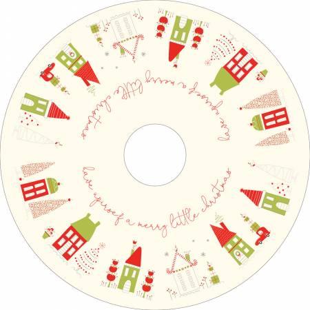 Merry Little Christmas Tree Skirt 54in Panel Cream