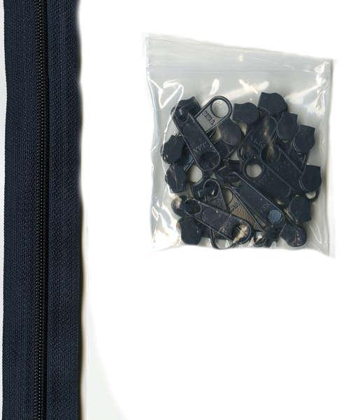 By Annie 4 yards of 16mm #4.5 zipper chain and 16 Extra-Large Coordinated Pulls Navy
