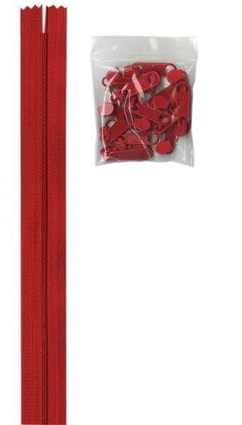 By Annie 4 yards of 16mm #4.5 zipper chain and 16 Extra-Large Coordinated Pulls Atom Red