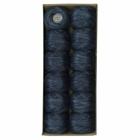 Valdani Variegated 12wt Pearl Cotton - Darkened Blue
