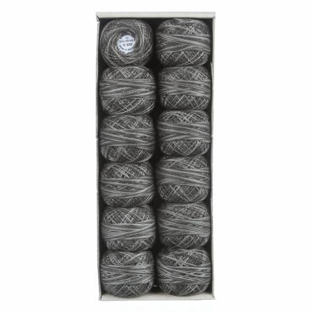 H209 Khaki Black Valdani Variegated Pearl Cotton Ball SZ12 109yd Khaki Black