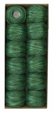 Valdani Variegated Pearl Cotton Ball Sz12 109yd Explosion in Greens