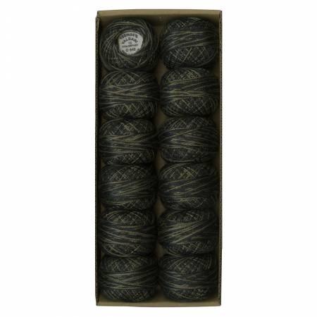 V0540 Black Olives aldani Variegated Pearl Cotton Ball Sz12 109yd Black Olives