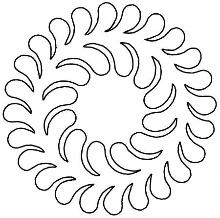 Stencil - Amish Flowing Feather Wreath 8