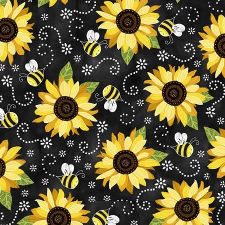 Black Sunflowers & Bees - Softie Minky Digital