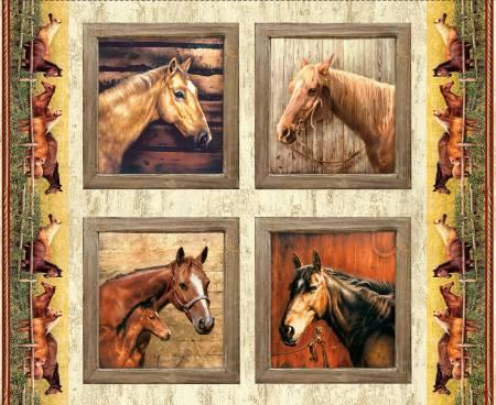 Horses Pillow Digital Panel