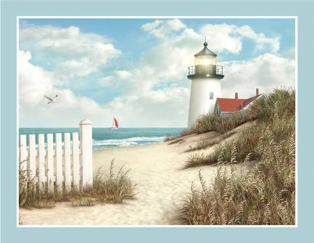 By The Peaceful Shore Lighthouse Panel 36x43