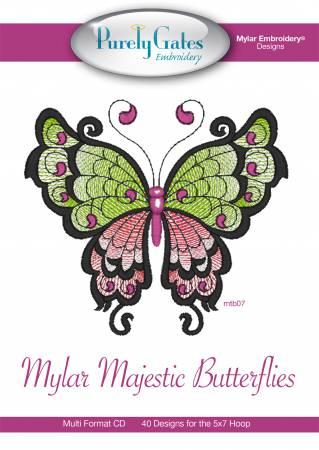 Mylar Majestic Butterflies Embroidery CD Designs