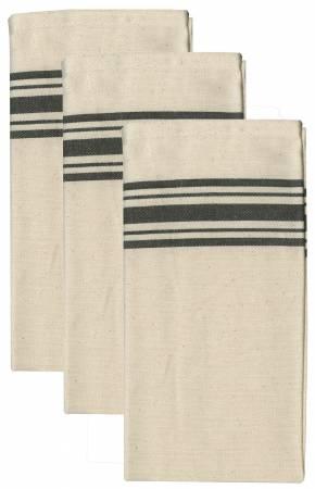 Aunt Martha's Black Stripe Herringbone Towels Pkg of 3