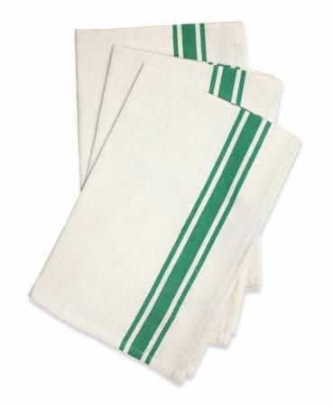 Aunt Martha's Vintage Stripe Towel 18in x 28in Kelly Green