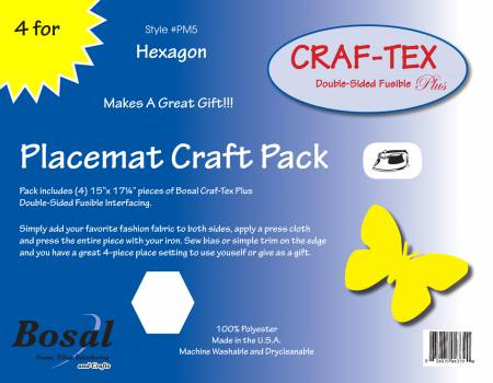 Placemat Craft Pack 15in x 17-1/4in Hexagon 4pk