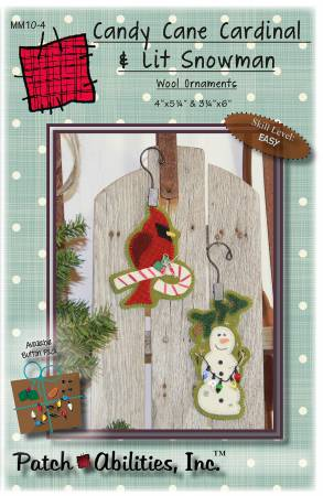 Candy Cane Cardinal & Lit Snowman Wool Ornaments