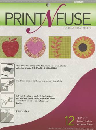PNF12 Print n' Fuse 8-1/2in x 11in Inkjet Fusible Sheets 12ct