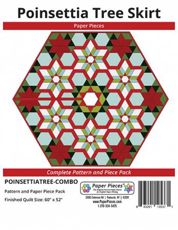 Poinsettia Tree Skirt Complete Pattern and Paper Piece Pack by Paper Pieces