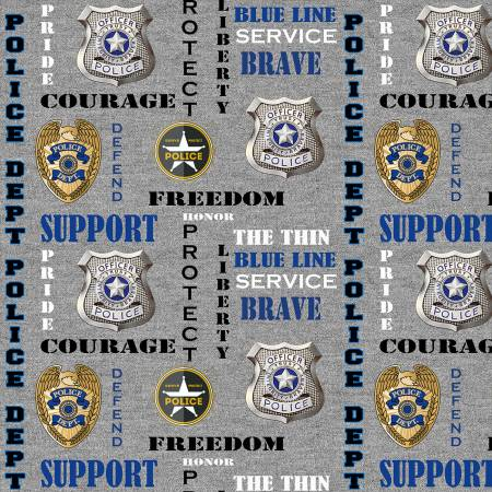 SPECIALTY FABRICS:  Police Department Badges and Support and Encouragement Words on Gray by Fabrique innovations for Sykel Enterprises