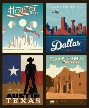 Destinations 3 Texas Cities Pillow Panel