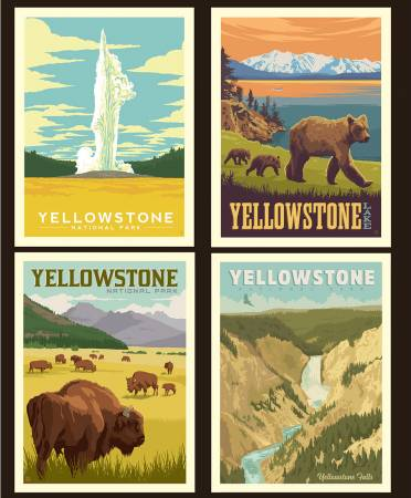 National Parks Pillow Panel Yellowstone Panel size is 36 x 43 1/2.
