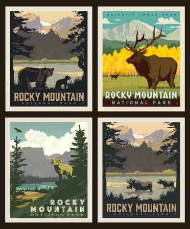 National Parks Rocky Mountains Pillow Panel