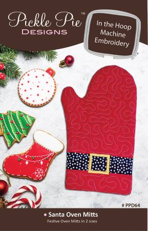 Santa Oven Mitts In The Hoop Machine Embroidery Design CD