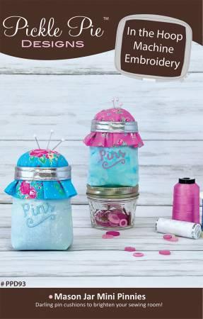 Mason Jar Mini Pinnies In the Hoop Machine Embroidery Design CD