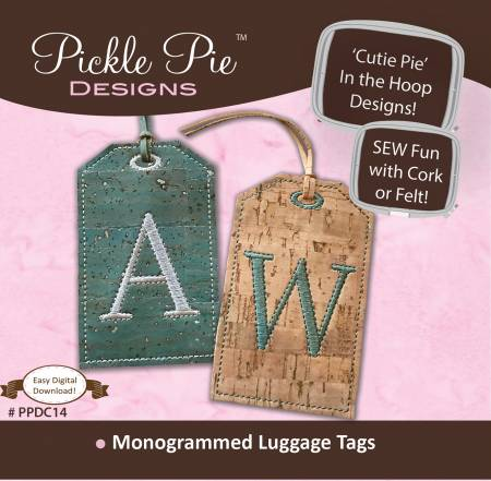 Pickle Pie Monogrammed Cork Luggage Tags