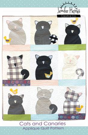 Cats and Canaries Applique Quilt Sewing Pattern