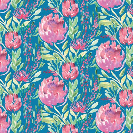 Thistle Flowers - Teal