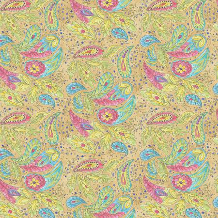 A Bird in Hand - Gold Paisley Digitally Printed