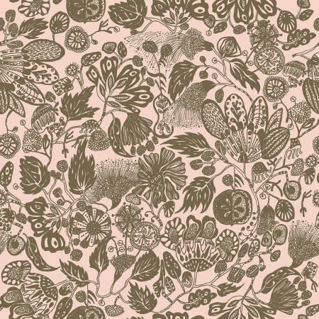 Floral Waterfall - Woodcut - Pink
