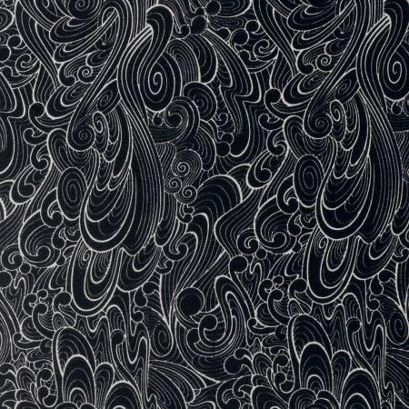 Free Spirit Tula Pink Ink Making Waves Black and White Cotton Fabric