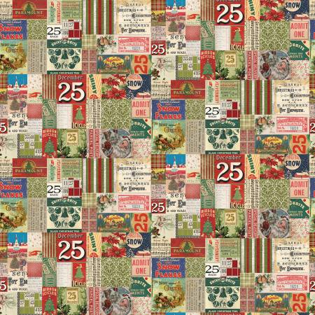 Item#11054.F.MB - Multi 25th Christmas - Eclectic Elements -Tim Holtz - (1 and 7/8 Yard Cut) Mini Bolt#11054.F.MB